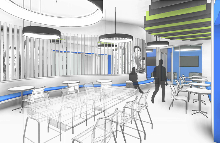 Conceptual Rendering of East Tennessee Children's Hospital (ETCH) Simulation Center Common Area.