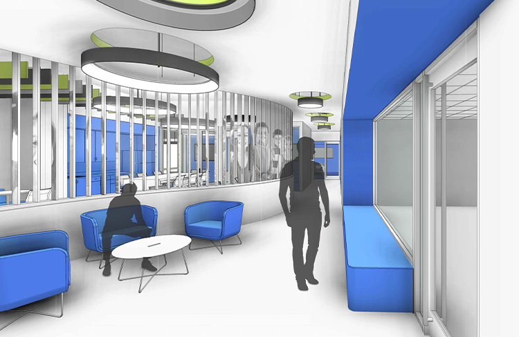Conceptual Rendering of Corridor within East Tennessee Children's Hospital (ETCH) Simulation Center.