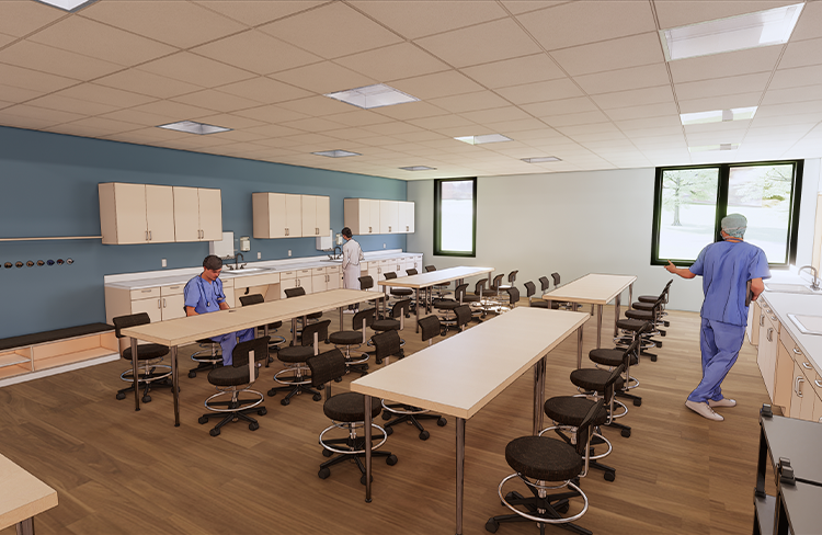 Conceptual Rendering of Clinical Skills Lab within the Simulation Lab at the University of New Hampshire College of Health and Human Services Simulation Center.