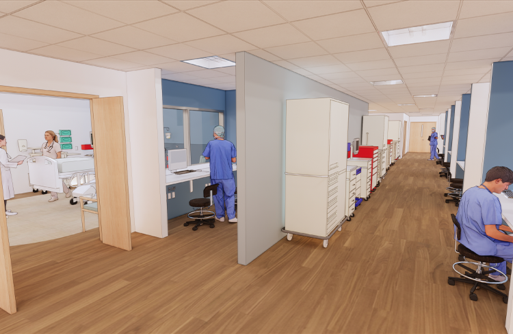Conceptual Rendering of Critical Care corridor within the Simulation Lab at the University of New Hampshire College of Health and Human Services Simulation Center.