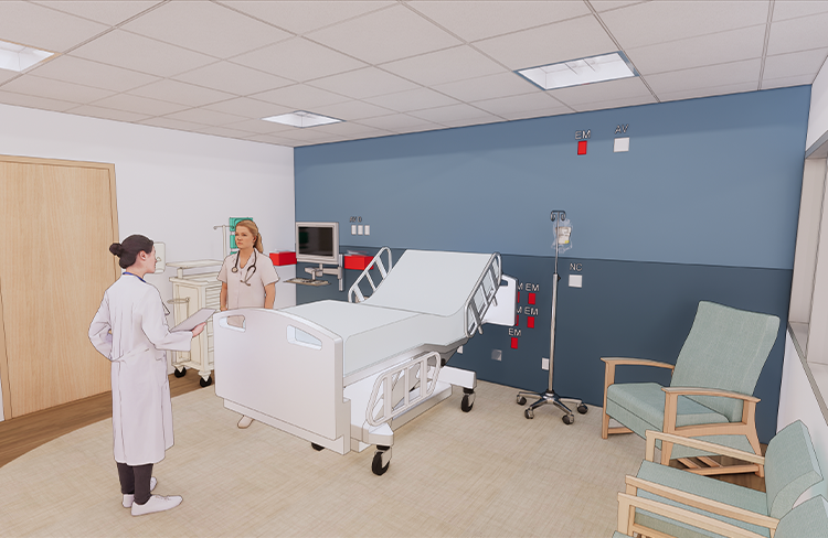 Conceptual Rendering of Critical Care Patient Room within the Simulation Lab at the University of New Hampshire College of Health and Human Services Simulation Center.