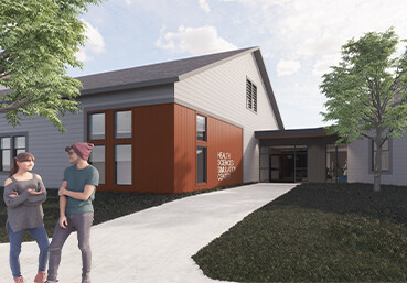 Conceptual rendering of roposed exterior of the University of New Hampshire College of Health and Human Services Simulation Lab
