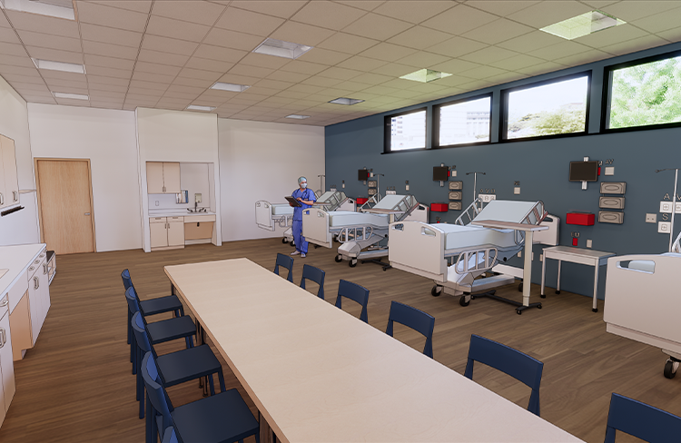 Conceptual Rendering of Fundamentals Lab within the Simulation Lab at the University of New Hampshire College of Health and Human Services Simulation Center.
