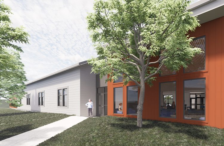 Conceptual Rendering of exterior of the Simulation Lab at the University of New Hampshire College of Health and Human Services Simulation Center.