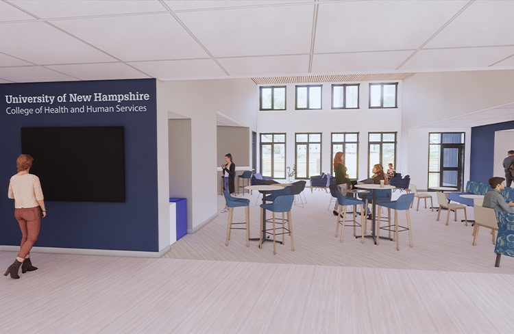 Conceptual Rendering of exterior of the Student Commons the University of New Hampshire College of Health and Human Services Simulation Center.