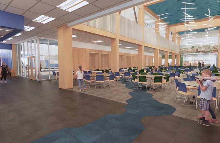 A rendering of the cafeteria within Oyster River Cooperative School District's new Oyster River Middle School