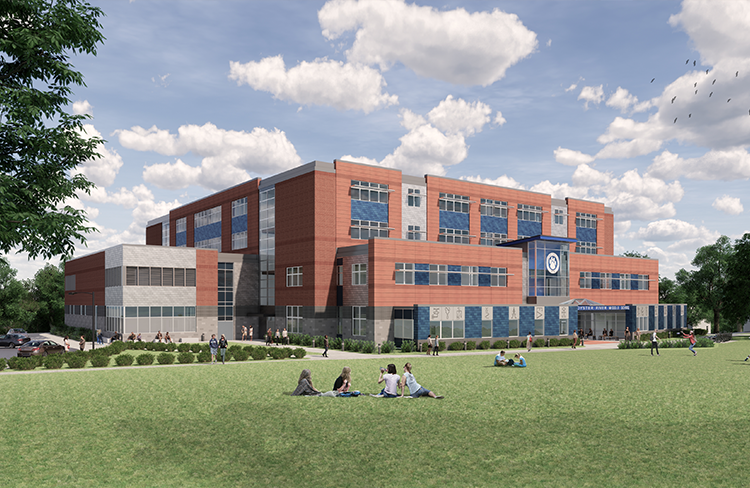 A rendering of the exterior of Oyster River Cooperative School District's new Oyster River Middle School