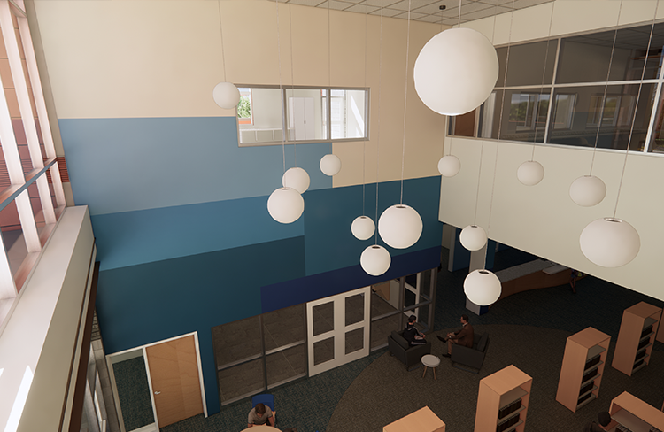 A rendering of an aerial view of the new library for Oyster River Cooperative School District's new Oyster River Middle School