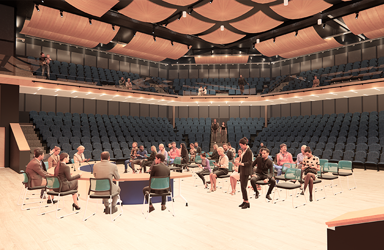 A rendering of the 900-seat recital hall within Oyster River Cooperative School District's new Oyster River Middle School
